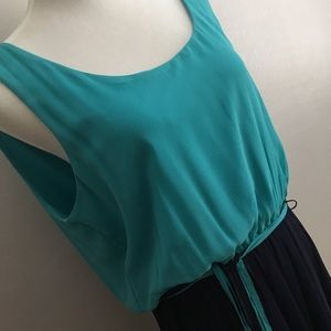 High-lo teal and navy belted sun dress JBS 16 NWT